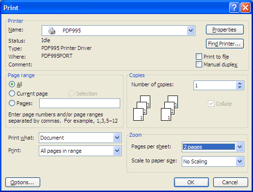 Print dialog with 2 pages selected