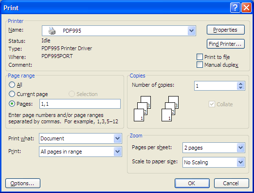 Figure 5: Print dialog with custom page numbers selected